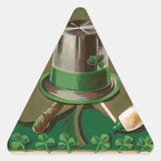 VintageSaint Patrick's day shamrock erin go bragh Triangle Sticker