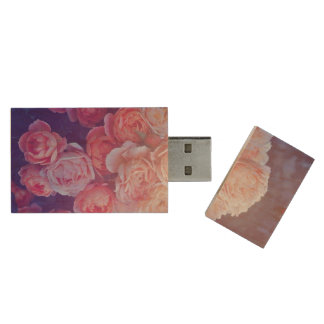 Vintige Flowers Wood USB 2.0 Flash Drive