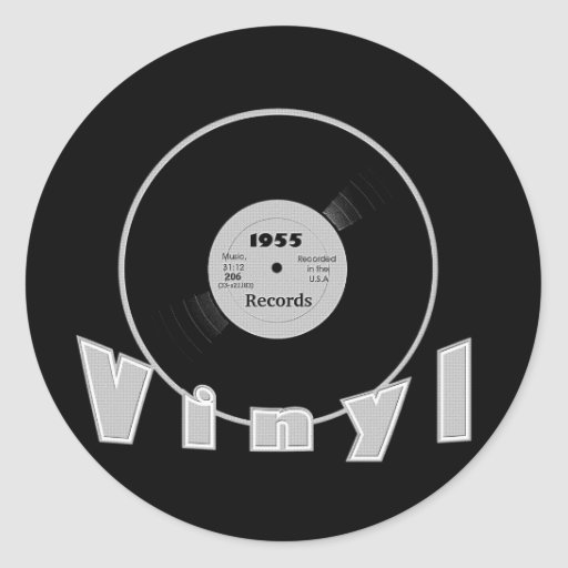 VINYL 1955 Record Label Black and Grey Stickers