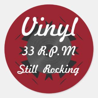 Vinyl 33 RPM Still Rocking 3 Red/White Classic Round Sticker
