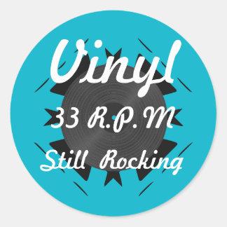 Vinyl 33 RPM Still Rocking 3 Turquoise/White Classic Round Sticker