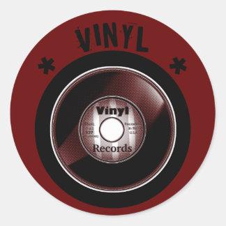 VINYL 45 RPM record, Black & Red Round Sticker