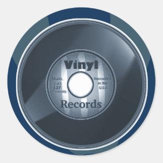VINYL 45 RPM record, Blue 2 Round Sticker