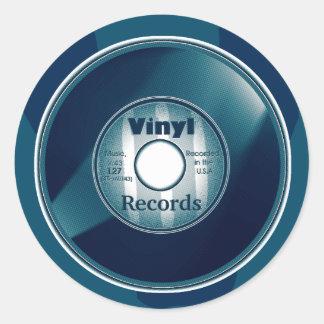 VINYL 45 RPM record, Blue Round Sticker