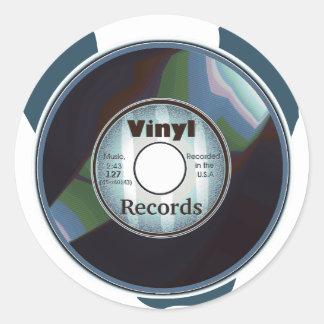 VINYL 45 RPM record, Blue/White Round Sticker