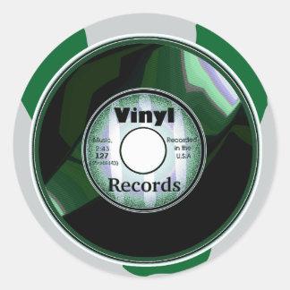 VINYL 45 RPM record, Green/White Round Sticker