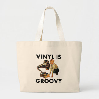 Vinyl Is Groovy Record Collector Humor Funny Pun Jumbo Tote Bag