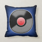 Vinyl Junkie Blue Fade Square Throw Pillow