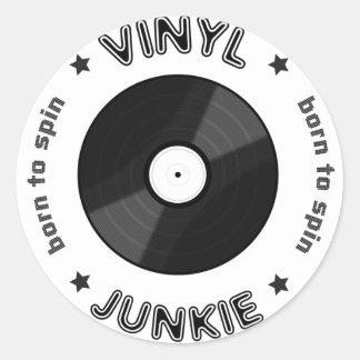 Vinyl Junkie Round Stickers