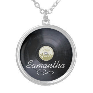 Vinyl name vintage sixties PERSONALIZE Silver Plated Necklace