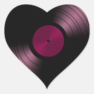 Vinyl Record Album in Pink Heart Sticker