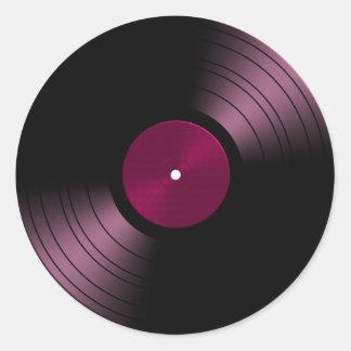 Vinyl Record Album in Pink Round Sticker