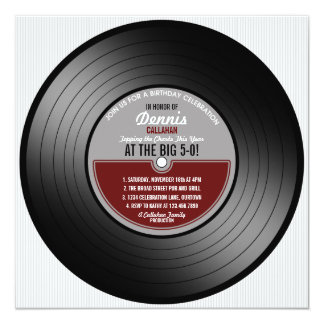 Vinyl Record Birthday Party Invitation