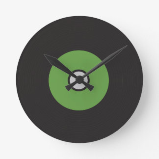 Vinyl Record Green Black and Grey Round Clock