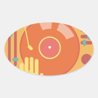 Vinyl-record-player-hand-scratch-light Oval Sticker