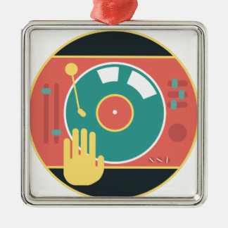 Vinyl-record-player-hand-scratch Metal Ornament