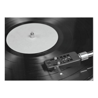 """Vinyl Record Playing on a Turntable Overview 5"""" X 7"""" Invitation Card"""