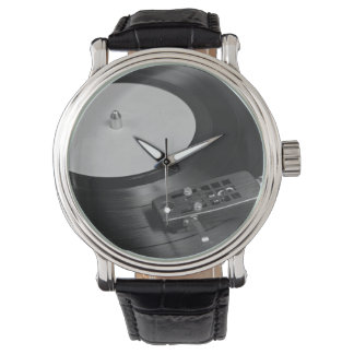 Vinyl Record Playing on a Turntable Overview Wristwatch