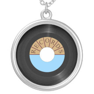 Vinyl Record Silver Plated Necklace
