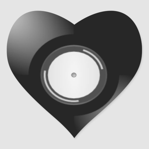 Vinyl Record Heart Stickers