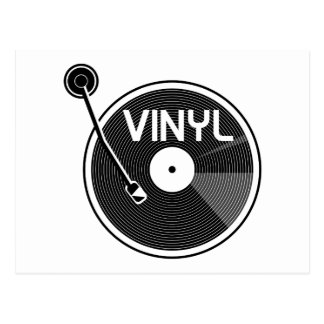 Vinyl Record Turntable Black and White Postcard