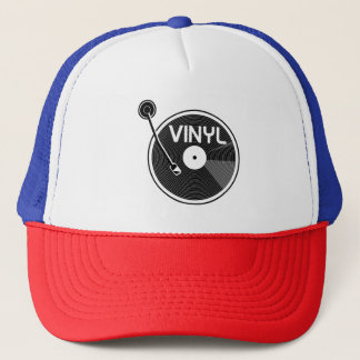 Vinyl Record Turntable Black and White Trucker Hat