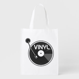Vinyl Record Turntable Reusable Grocery Bag