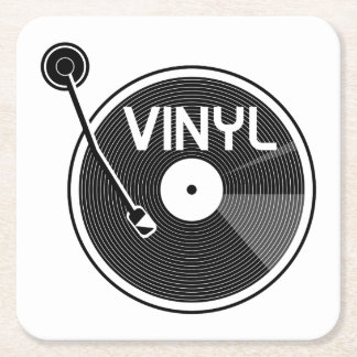 Vinyl Record Turntable Square Paper Coaster