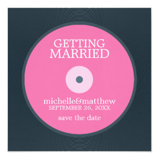 "Vinyl Record Wedding Save the Date 5.25"" Square Invitation Card"