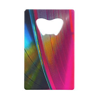 Vinyl records magenta credit card bottle opener