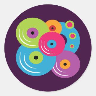 Vinyl Records Round Stickers