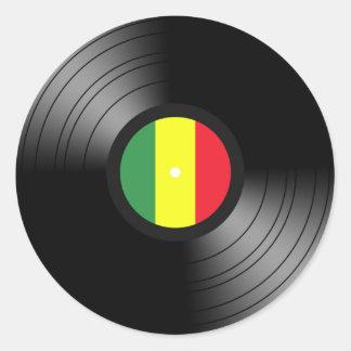 Vinyl reggae round sticker