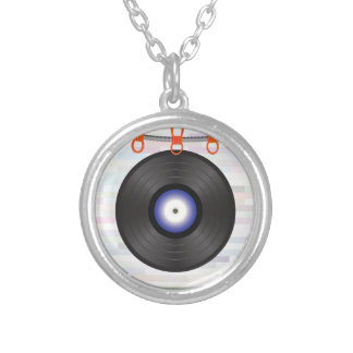 vinyl silver plated necklace