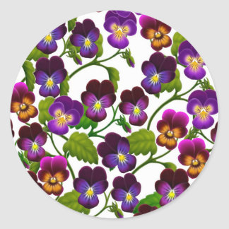 Violas and Pansies Floral Classic Round Sticker