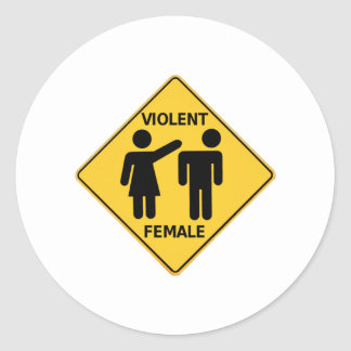 Violent Female Cartoon Sign Round Sticker
