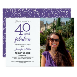 Violet 40 and Fabulous Birthday Photo Invitation