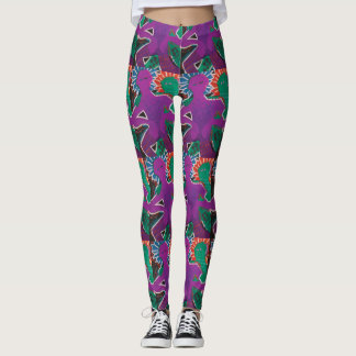Violet and green arty leggings