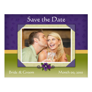 Violet and Green Save the Date Photo Postcards