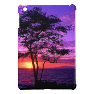 Violet and Pink Sunset Tree iPad Mini Cover