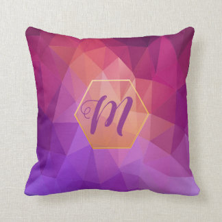 Violet and purple graphic pattern with monogram throw pillow