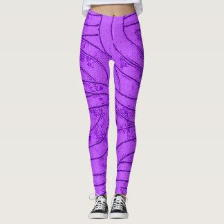 Violet and purple waves, spirals, curves pattern leggings