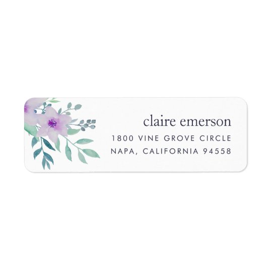 Violet and Sage Floral Return Address Return Address Label