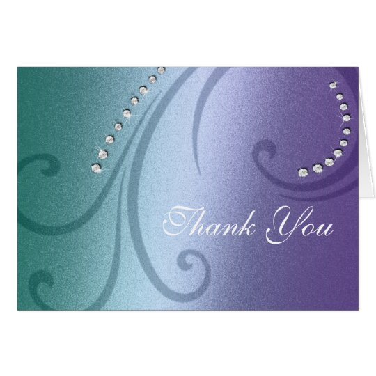 Violet and Teal Shimmer and Crystal Thank You Card