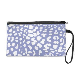 Violet and White Leopard Print Wristlet Bag