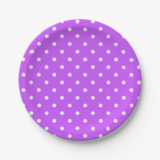Violet and white polka dot modern paper plate