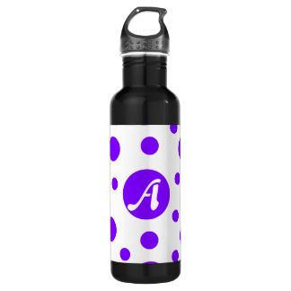 Violet and White Polka Dots Monogram 710 Ml Water Bottle