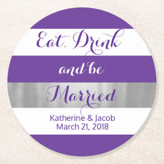 Violet and White Striped Wedding Paper Coaster