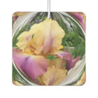 Violet and Yellow Iris Design in Clear Globe Air Freshener