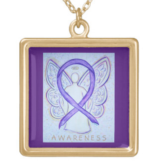 Violet Awareness Ribbon Angel Jewelry Necklace