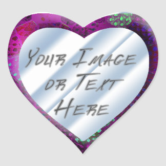 Violet Batik Heart Frame Heart Sticker